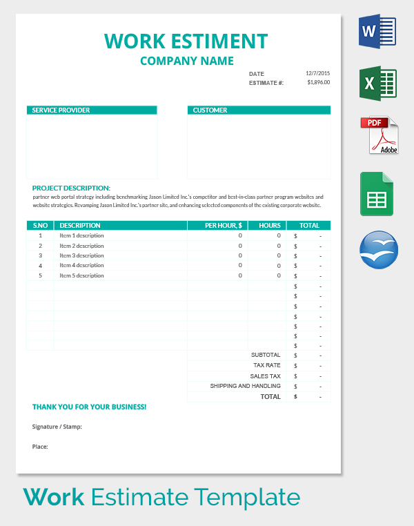 26+ Blank Estimate Templates   PDF, DOC, Excel, ODT | Free