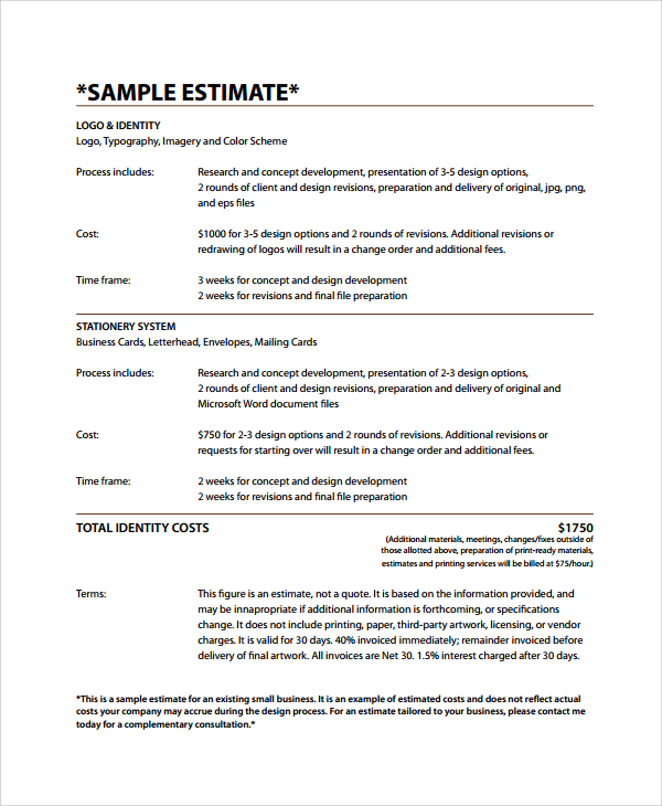 8+ Business Estimate Templates | Sample Templates