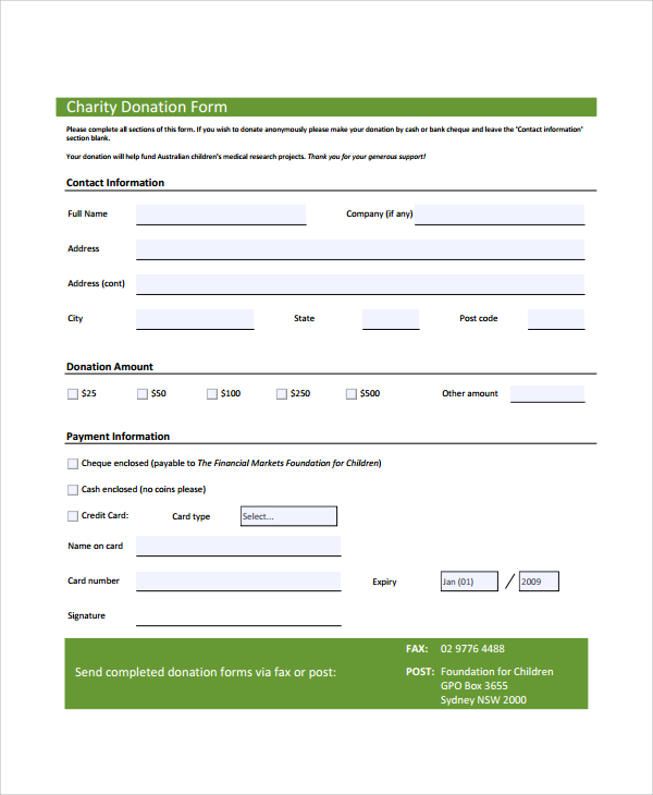 Charitable Donation Form Template | charlotte clergy coalition