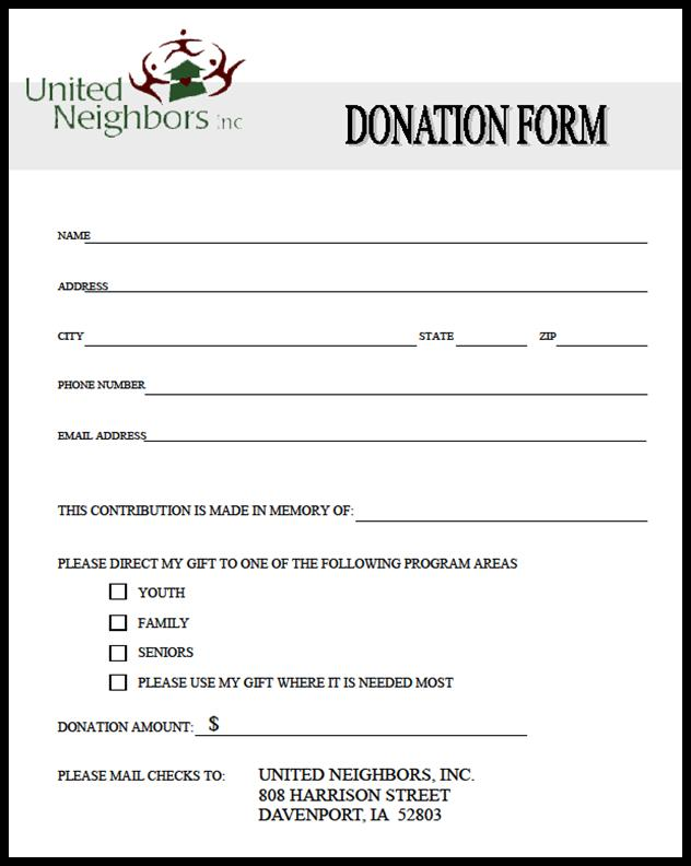 tax donation form template charitable contribution form template