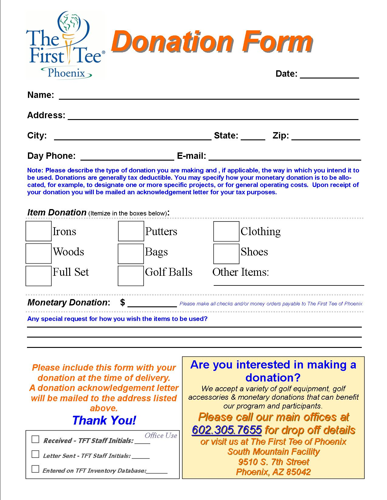 charity pledge form template charitable contribution form template