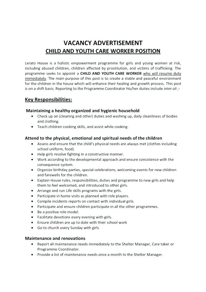 child care provider job descriptions