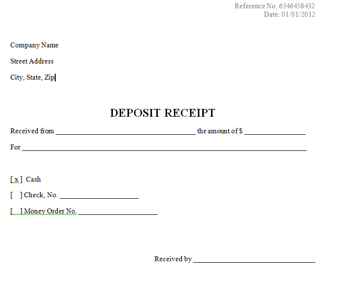 deposit payment receipt template   East.keywesthideaways.co