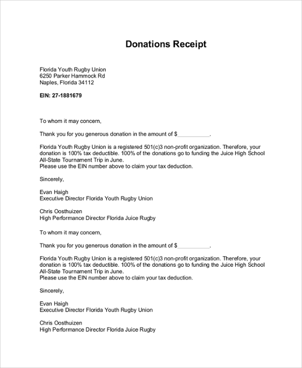 donation receipt letter template charlotte clergy coalition