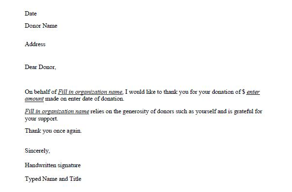 Free Donation Thank You Letter Template