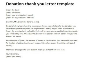 Donor acknowledgement letter template charlotte clergy coalition by template expocarfo Image collections
