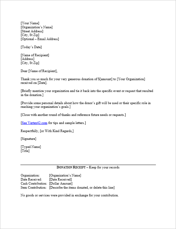 5+ Donation Acknowledgement Letter Templates   Free Word, PDF