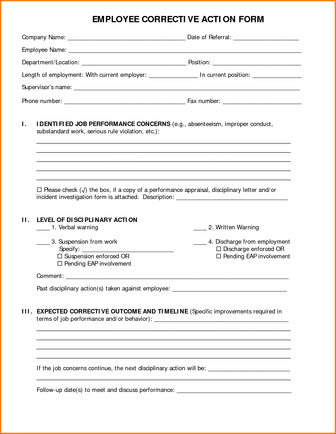 employee corrective action form template sample corrective action