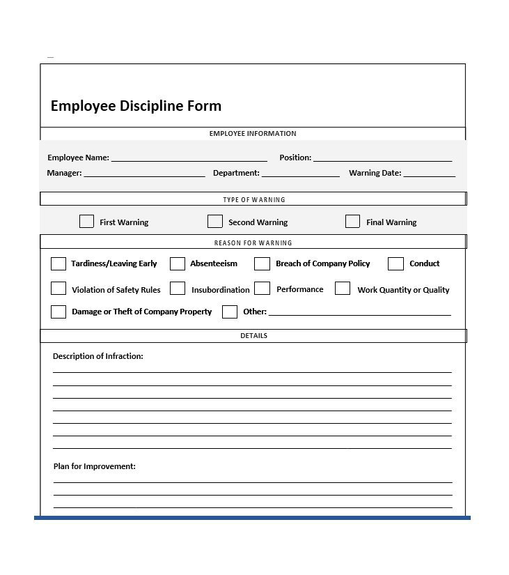 employee disciplinary action form with checklist charlotte clergy