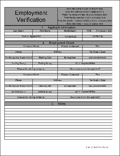 Employment Verification Form Free Download | charlotte clergy coalition