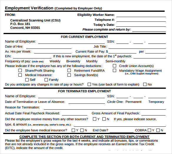 9 Employment Verification Form Download for Free | Sample Templates