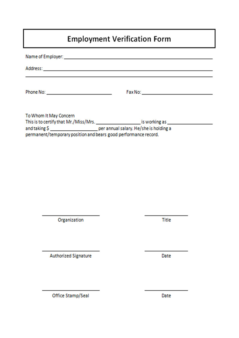 employment-verification-form-free-download-m-form-08 Verifying Employment Letter Template on income verification, verification form, job offer,