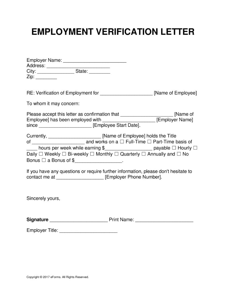 Free Employment (Income) Verification Letter   PDF | Word | eForms