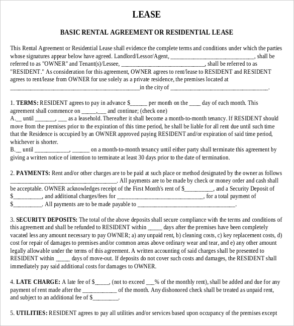 free downloads rental agreements