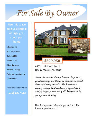 sample house sale flyer template