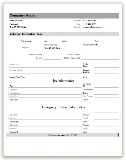 information form template new hire information form