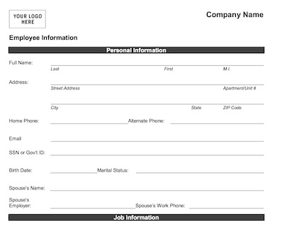 personal information form template employee information form