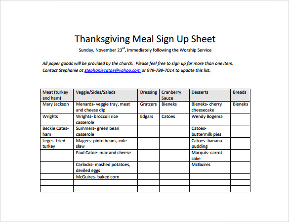 Meal Sign Up Sheet Five Advantages Of Meal Sign Up Sheet