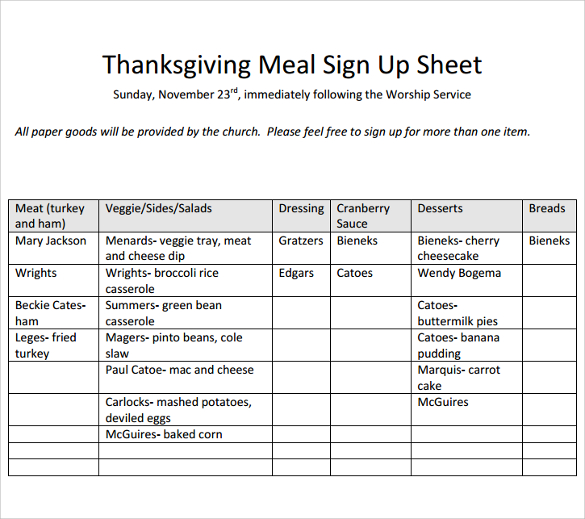 meal sign up sheet template charlotte clergy coalition