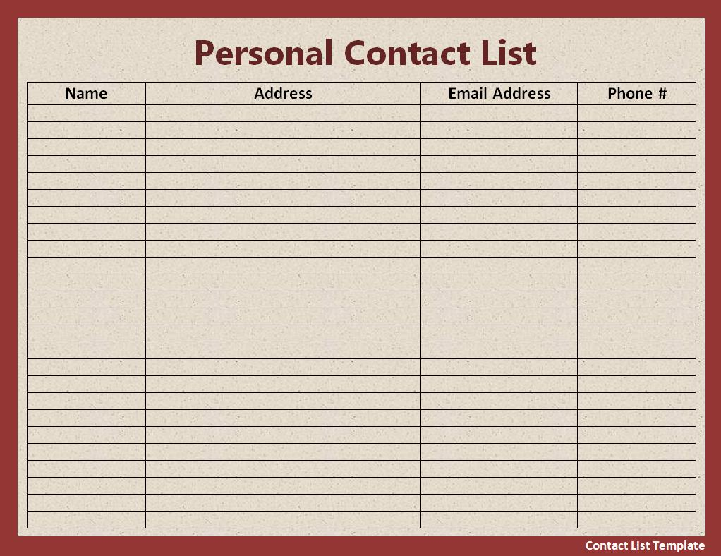 Best Photos of Printable Personal Contact Template   Personal