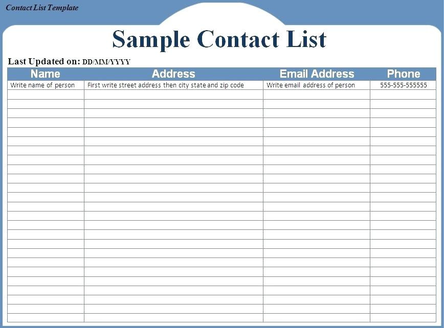 Impressive Information Contact List Template Free Downloadable