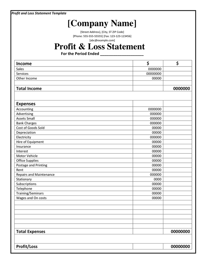 Blank Profit And Loss Statement Pdf   Fill Online, Printable