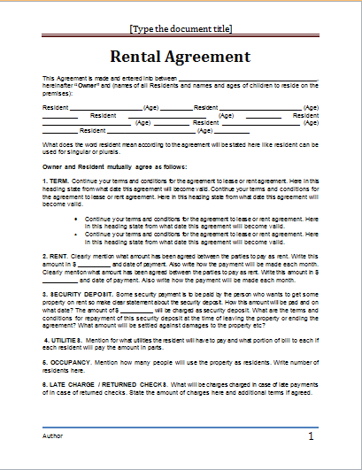 lease agreement word template   Kleo.beachfix.co