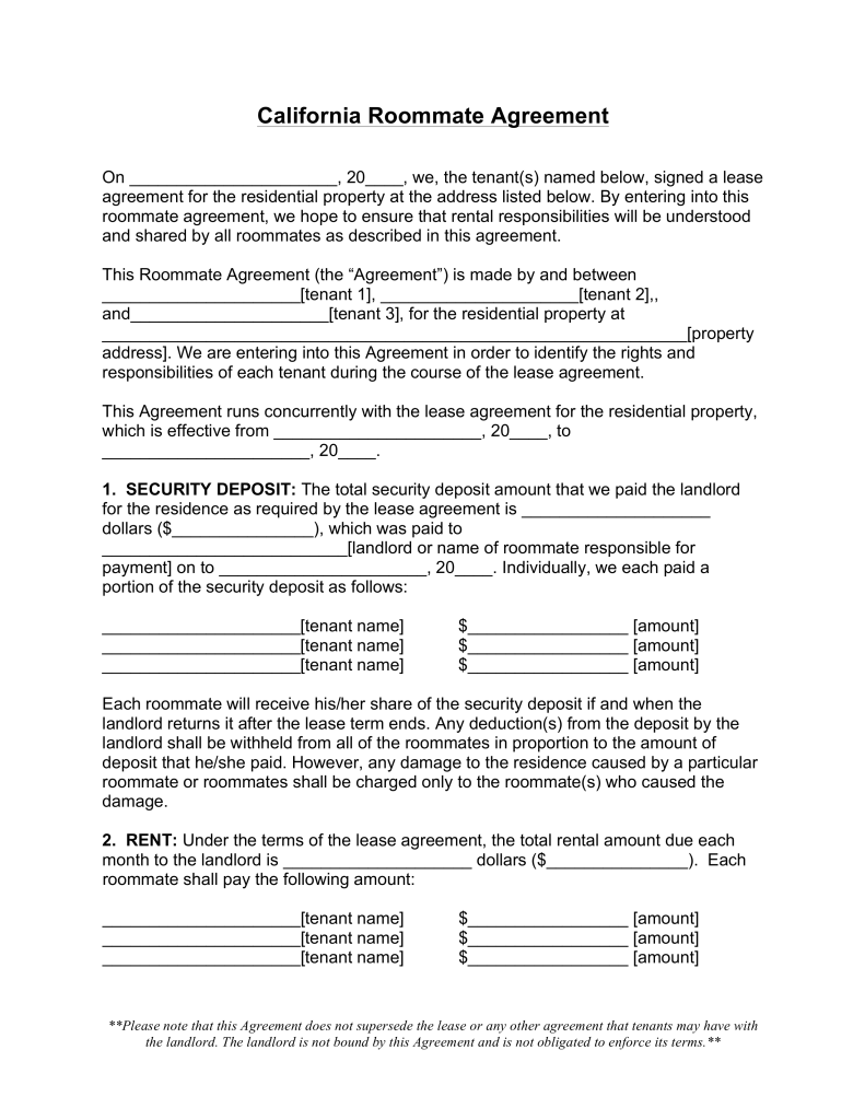 Free California Roommate (Room Rental) Agreement   Word | PDF