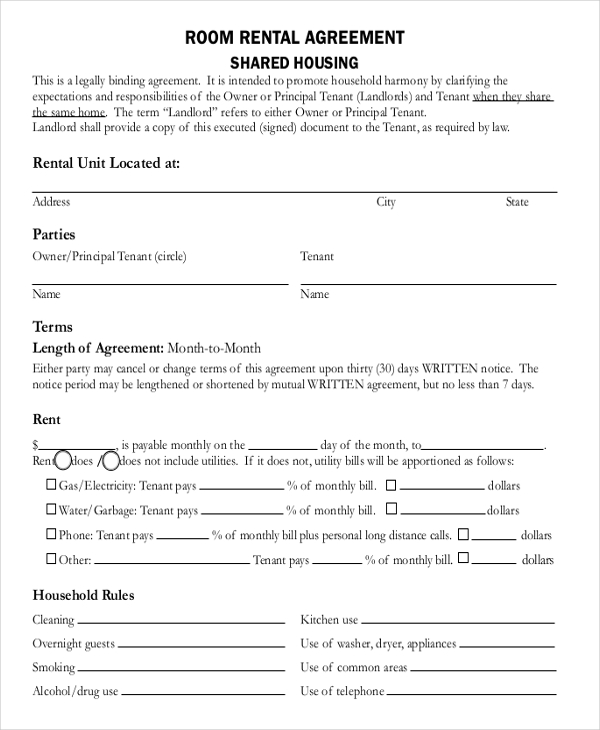 free room lease agreement template 8 room rental agreement
