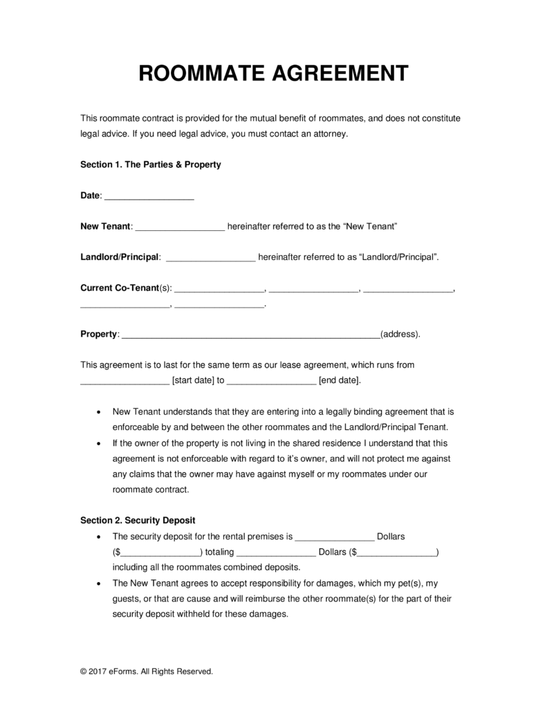 Roommate Lease Agreement Pdf Charlotte Clergy Coalition