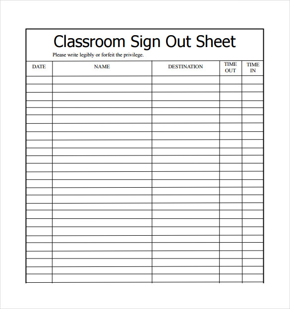 sign out sheet template word   Kleo.beachfix.co